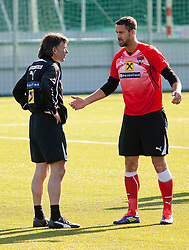 04.10.2011, Bad Tatzmannsdorf, AUT, OeFB, Nationalmannschaft Teamtraining, im Bild Stefan Maierhofer mit Willi Ruttensteiner, EXPA Pictures © 2011, PhotoCredit: EXPA/ Erwin Scheriau