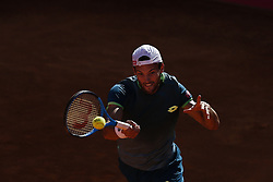 May 4, 2018 - Estoril, Portugal - Joao Sousa from Portugal  returns the ball to Kyle Edmund from Great Britain during their Millennium Estoril Open ATP Singles  tennis match, in Estoril, near Lisbon, on May 4, 2018. (Credit Image: © Carlos Palma/NurPhoto via ZUMA Press)