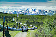 The Trans-Alaska pipeline winds it's way through the Wrangell S Elias mountains