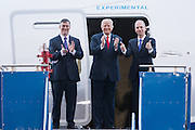 U.S. President Donald Trump with Boeing CEO Dennis Muilenburg, right, and Boeing Commercial Aircraft CEO Kevin McAllister, left, after touring the new Boeing 787-10 Dreamliner aircraft at the Boeing factory February 17, 2016 in North Charleston, SC. Trump is at the factory for the rollout of the new aircraft.