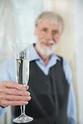 Architect holding champagne glass