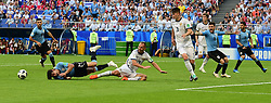 SAMARA, June 25, 2018  Edinson Cavani (2nd L) of Uruguay vies with Sergey Ignashevich of Russia during the 2018 FIFA World Cup Group A match between Uruguay and Russia in Samara, Russia, June 25, 2018. (Credit Image: © Du Yu/Xinhua via ZUMA Wire)