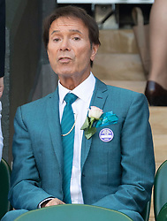 © Licensed to London News Pictures. 02/07/2018. London, UK. Sir Cliff Richard watches centre court tennis in the sweltering heat at the Wimbledon Tennis Championships 2018 <br /> . Photo credit: Ray Tang/LNP