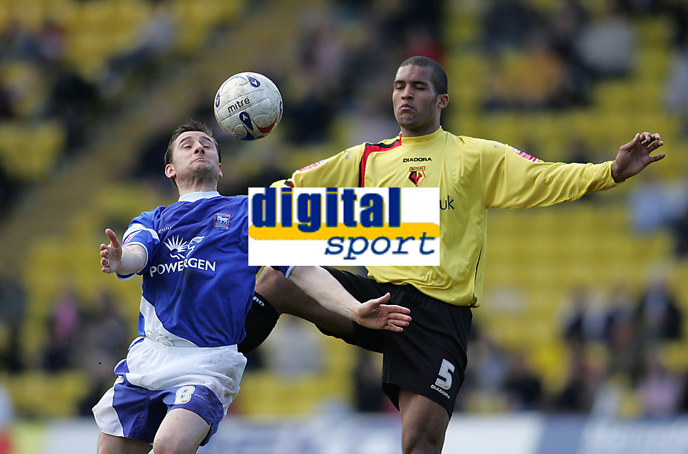 Photo: Lee Earle.<br /> Watford v Ipswich Town. Coca Cola Championship. 17/04/2006. Ipswich's Nicky Forster (L) battles with Clarke Carlisle.