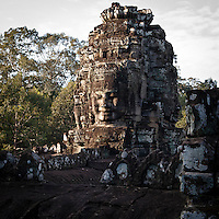 The Smiles of Avalokiteshvara at The Bayon temple in the walled city of Angkor Thom, Siem Reap, Cambodia
