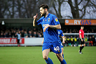 AFC Wimbledon midfielder Anthony Wordsworth (40) celebrates his volley to equalise 1-1 during the EFL Sky Bet League 1 match between AFC Wimbledon and Plymouth Argyle at the Cherry Red Records Stadium, Kingston, England on 26 December 2018.