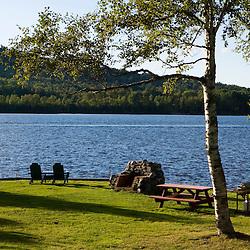 The lawn behind Chalet Moosehead on Moosehead Lake in Greenville, Maine.