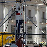 South America, Chile, Santiago. Chilean Miners Rescue Capsule on pubic display at Palacio de La Moneda.