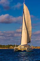 Catamaran (sailboat),  Bora Bora, Society Islands, French Polynesia.