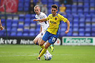 Exeter City's Matt Grimes gets away from Tranmere Rovers' Marc Laird. Skybet football league two match, Tranmere Rovers v Exeter city at Prenton Park in Birkenhead, the Wirral on Saturday 20th Sept 2014.<br /> pic by Chris Stading, Andrew Orchard sports photography.