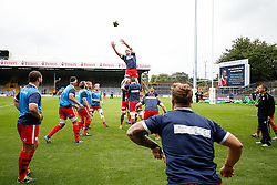 Bristol Lock Mark Sorenson takes a line out ball during the warm up - Photo mandatory by-line: Rogan Thomson/JMP - 07966 386802 - 14/09/2014 - SPORT - RUGBY UNION - Leeds, England - Headingley Carnegie Stadium - Yorkshire Carnegie v Bristol Rugby - Greene King IPA Championship.