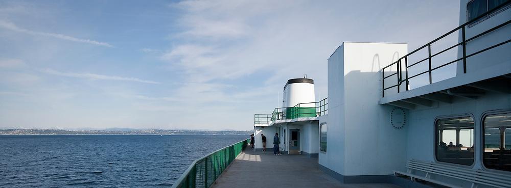 a ferry crosses Puget Sound, Washington, USA panorama