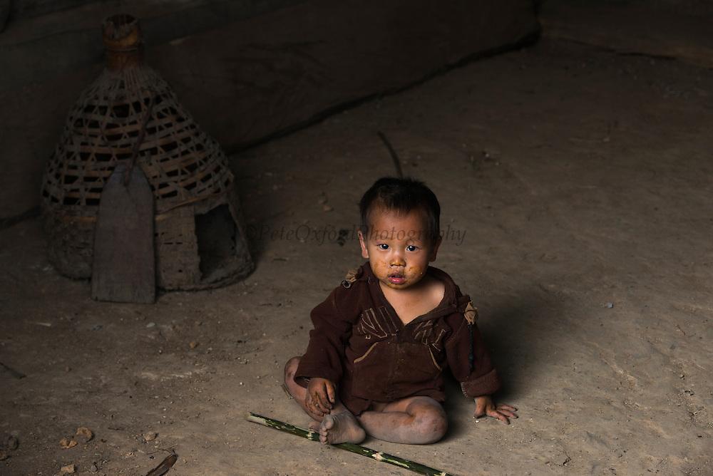 Konyak Naga child<br /> Konyak Naga headhunting Tribe<br /> Mon district<br /> Nagaland,  ne India