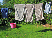 Washing drying on line in garden, Shottisham, Suffolk, England, UK