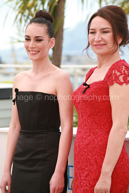 Melisa Sözen and Demet Akbağ at the photocall for the film Winter Sleep (Palme d'Or winner) at the 67th Cannes Film Festival, Friday 16th May 2014, Cannes, France