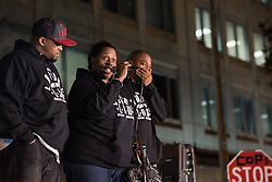 October 20, 2016 - Chicago, United States - Family of police shooting victims share their stories during a Laquan Day rally in Chicago on October 20, 2016. Over 200 people gathered outside Chicago Police Headquarters to commemorate the life of 17-year-old police shooting victim Laquan McDonald on the two year anniversary of his death. (Credit Image: © Max Herman/NurPhoto via ZUMA Press)