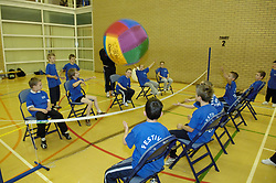 Schoolchildren taking part in Festival of Sport event; Tyneside July 2007 UK; kin-ball new team sport played with a 4 foot ball