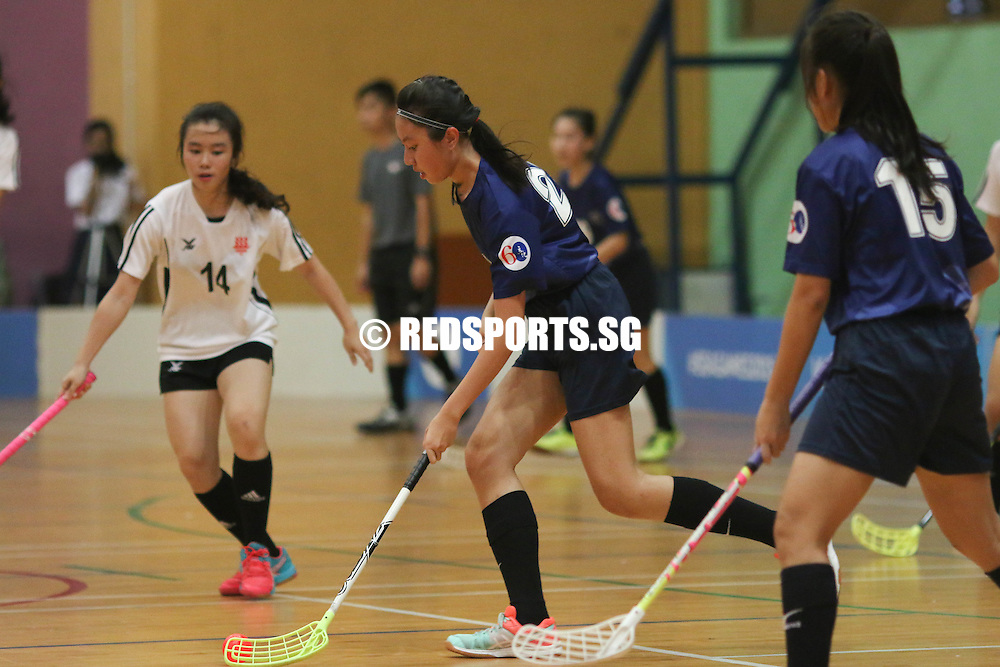 Hougang Sports Hall, Monday, May 9, 2016 — River Valley High School (RVHS) defeated Hwa Chong Institution (HCI) 2-1 in Round 1 of the National A Division Girls Floorball Championship.<br /> <br /> RVHS ended Round 1 with a 3-2 win-loss record, while HCI finished with a 2-3 record.