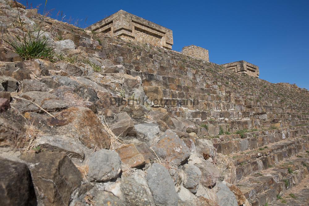 Monte Alban, Mexico - 08.01.2019<br /> <br /> Monte Alban in Oaxaca, Mexico. The archaeological site is part of the UNESCO World Heritage, it was the religious center of the Zapotecs and later the Mixtecs, it lies 2000m above sea level on an artificially flattened mountaintop. <br /> <br /> Monte Alban in Oaxaca, Mexiko. Die archaeologische Staette ist Teil des UNESCO Weltkulturerbes, es war das religioese Zentrum der Zapoteken und spaeter der Mixteken, sie liegt 2000m über dem Meeresspiegel auf einer kuenstlich abgeflachten Bergkuppe. <br /> <br /> Photo: Bjoern Kietzmann