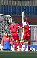 Photo: Andrew Unwin.<br />Blackburn Rovers v Middlesbrough. The Barclays Premiership. 18/03/2006.<br />Middlesbrough's Mark Viduka (R) salutes his equaliser.