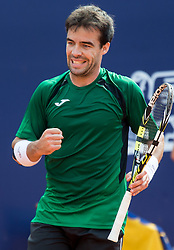 28.07.2014, Sportpark, Kitzbuehel, AUT, ATP World Tour, bet at home Cup 2014, Hauptrunde, Einzel, im Bild Pere Riba (ESP) // Pere Riba of Spain reacts during men's singles at the main round of bet at home Cup 2014 tennis tournament of the ATP World Tour at the Sportpark in Kitzbuehel, Austria on 2014/07/28. EXPA Pictures © 2014, PhotoCredit: EXPA/ Johann Groder