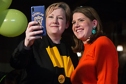 London, UK. 9 November, 2019. Jo Swinson, leader of the Liberal Democrats, poses for a selfie with a Liberal Democrat activist at the Rally for the Future in Battersea in order to set out the party's vision to Stop Brexit and Build A Brighter Future.