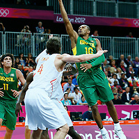 06 August 2012: Brazil Leandrinho Barbosa goes for the layup during 88-82 Team Brazil victory over Team Spain, during the men's basketball preliminary, at the Basketball Arena, in London, Great Britain.