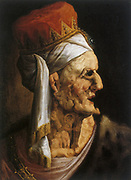 Herod' king of the Jews. Crowned head with face and neck composed of first-born (Holy Innocents) he massacred (Bible Matt. 2:16). Anonymous 17th century in style of Arcimboldo. Oil on wood.