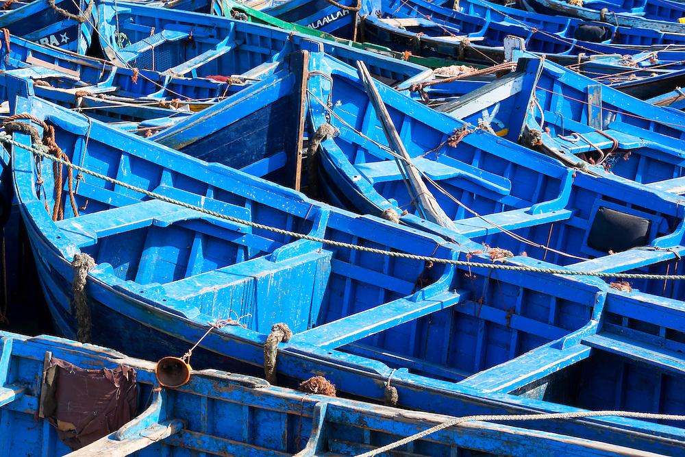 Blue fishing boats in Essaouira.
