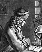 Francois Marie Arouet de Voltaire (1694-1778)  French author playwright, satirist, man of letters and central figure in the French Enlightenment.  Wood engraving.