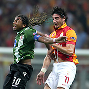 Galatasaray's Albert Riera (R) and Braga's Alan during their UEFA Champions League Group H matchday 2 soccer match Galatasaray between Braga at the TT Arena Ali Sami Yen Spor Kompleksi in Istanbul, Turkey on Tuesday 02 October 2012. Photo by TURKPIX