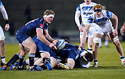Sale Sharks prop Ross Harrison passes the ball during a Gallagher Premiership Round 9 Rugby Union match, Friday, Feb 12, 2021, in Leicester, United Kingdom. (Steve Flynn/Image of Sport)