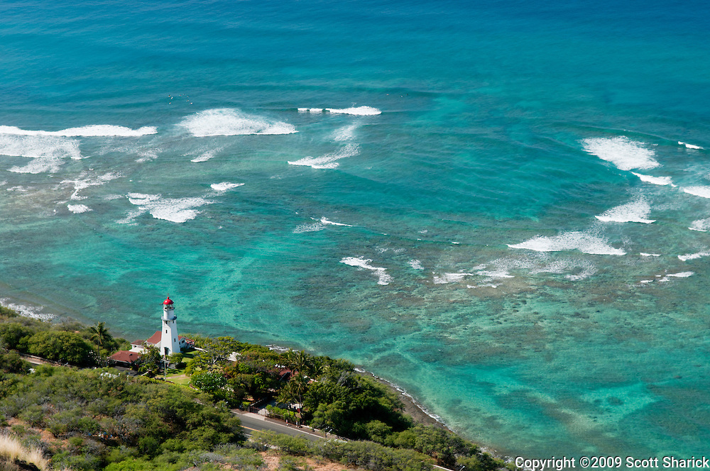 A look at the Diamond Head Lighthouse from the top of Diamond Head Crater.