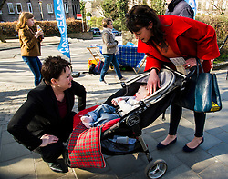 Pictured: Ruth davidson met Sofie Fletcher and her 15 month old daughter Coco when in Stockbridge.<br /> <br /> Scottish Conservative leader Ruth Davidson visited Stockbridge in Edinburgh today as she continues o the campaign trail.<br /> <br /> Ger Harley | EEm 25 March 2016