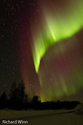 Aurora Borealis or Northern Lights over Finnmark, seen from near to the border between Norway and Finland.