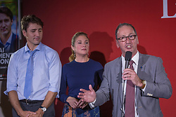 Richard Hebert, Liberal candidate for the byelection in the Lac-Saint-Jean riding, right, speaks as Prime Minister Justin Trudeau, left, and his wife Sophie Gregoire Trudeau look on during a Liberal party rally in Dolbeau-Mistassini, Que, Canada, on Thursday, October 19, 2017. Photo by Francis Vachon/CP/ABACAPRESS.COM