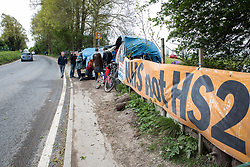 Harefield, UK. 27th April 2019. Environmental activists from Colne Valley Action gather to prevent the felling of trees as part of work scheduled for this weekend for the HS2 project. The Colne Valley is an area of natural beauty and large areas of trees have been felled there for HS2 in recent weeks. Protesters based at the Harvil Road Wildlife Protection Camp are seeking to prevent further destruction.