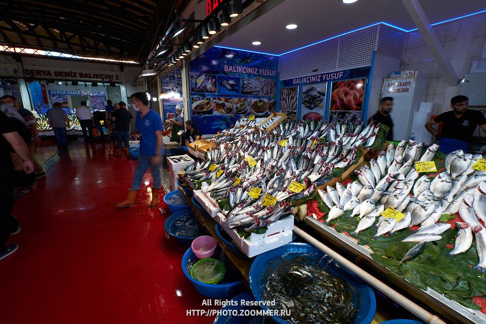 Fresh fish in Karakoy fish market, Istanbul, Turkey