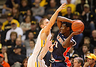 December 29 2010: Illinois Fighting Illini guard D.J. Richardson (1) tries to keep the ball away from Iowa Hawkeyes guard Matt Gatens (5) during the first half of an NCAA college basketball game at Carver-Hawkeye Arena in Iowa City, Iowa on December 29, 2010. Illinois defeated Iowa 87-77.