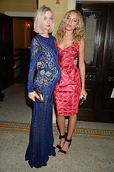 Left to right, PORTIA FREEMAN and PHOEBE COLLINGS JAMES at the Lancôme BAFTA Dinner held at The Cafe Royal, Regent's Street, London on 6th February 2015.