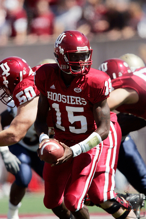 15 September 2007: Indiana quarterback Kellen Lewis (15) as the Indiana Hoosiers played the Akron Zips in a college football game in Bloomington, Ind. Indiana won 41-24.