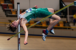 Ridzerd Punt in action on the high jump during AA Drink Dutch Athletics Championship Indoor on 20 February 2021 in Apeldoorn.