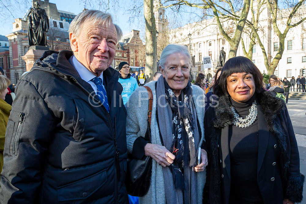 Lord Alf Dubs, Vanessa Redgrave CBE and Diane Abbot MP join supporters of the Child Refugee charity Safe Passage calling on Peers in the House of Lords to back an amendment and uphold refugee family reunion on the 20th of January 2020 in Parliament Square, Westminster, London, United Kingdom. 95% of the children currently receiving legal support from the charity Safe Passage International to reunite with relatives in the UK would not be eligible for family reunion under current UK Immigration Rules.