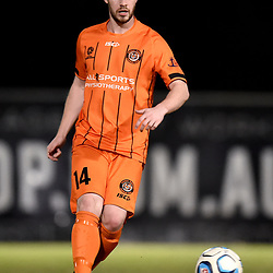 BRISBANE, AUSTRALIA - NOVEMBER 3: Joshua Anderson of Eastern Suburbs passes the ball during the NPL Queensland Senior Mens Round 9 match between Eastern Suburbs FC and Gold Coast Knights at Heath Park on November 3, 2020 in Brisbane, Australia. (Photo by Patrick Kearney)