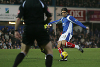 Photo: Lee Earle.<br /> Portsmouth v Manchester City. The Barclays Premiership. 10/02/2007.Pedro Mendes scores the opening goal for Portsmouth.