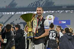 May 19, 2019 - Turin, Turin, Italy - Giorgio Chiellini of Juventus FC lifts the trophy of Scudetto  2018-2019 at Allianz Stadium, Turin (Credit Image: © Antonio Polia/Pacific Press via ZUMA Wire)