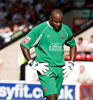 Photo: Steve Bond.<br /> Walsall v Swansea City. Coca Cola League 1. 25/08/2007. Keeper Clayton Ince is given a torrid afternoon