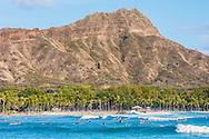 Surfing off of Waikiki Beach, Honolulu, Oahu, Hawaii