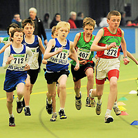19 March 2011; Charles McDaid, Finn Valley AC, Co. Donegal, Denver Kelly, Finn Valley AC, Co. Donegal, Joe Dawson, Wesport, Co. Mayo, and Eoin Looney, Kilmurray Ibrickine AC, Co. Clare, in action during the U13 boys 600m final. Woodieís DIY National Junior Indoor Championships, Meadowbank Indoor Arena, Magherafelt, Derry. Picture credit: Oliver McVeigh / SPORTSFILE *** NO REPRODUCTION FEE ***