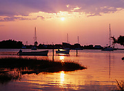 Sunset over Ocracoke Harbor, near Cape Hatteras National Seashore, North Carolina.